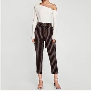 Zara stripe Navy paper bag trousers
